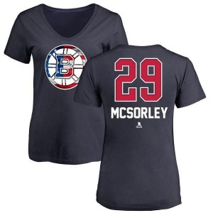 Marty Mcsorley Boston Bruins Women's Navy Name and Number Banner Wave V-Neck T-Shirt -