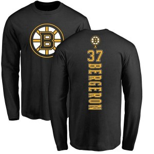 Patrice Bergeron Boston Bruins Youth Black Branded Backer Long Sleeve T-Shirt -